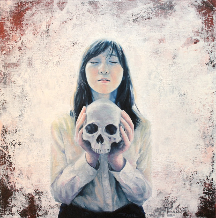 Girl holding a skull oil painting