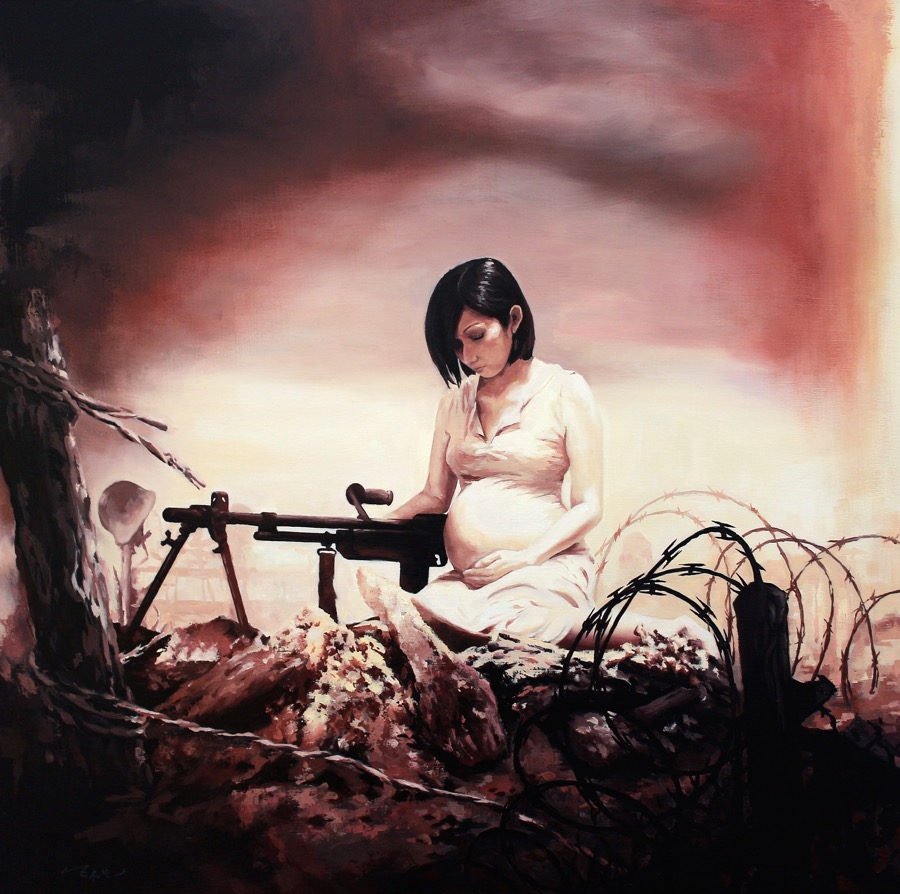 Pregnant woman with a machine gun oil painting