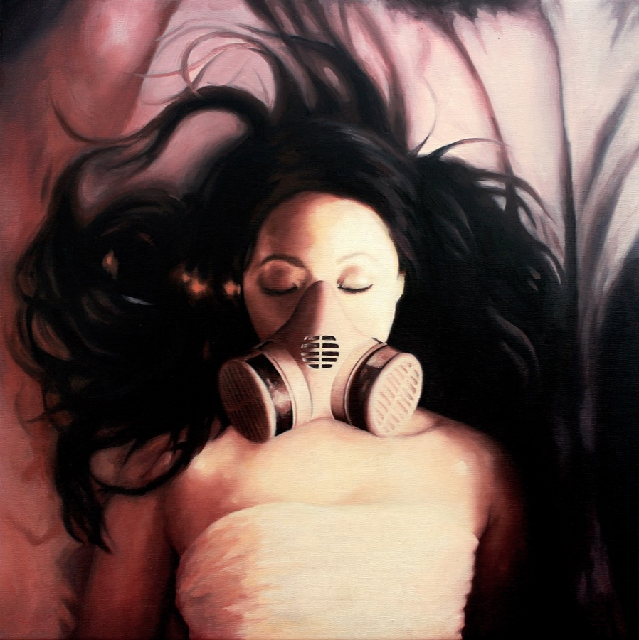 Women in a gas mask oil painting