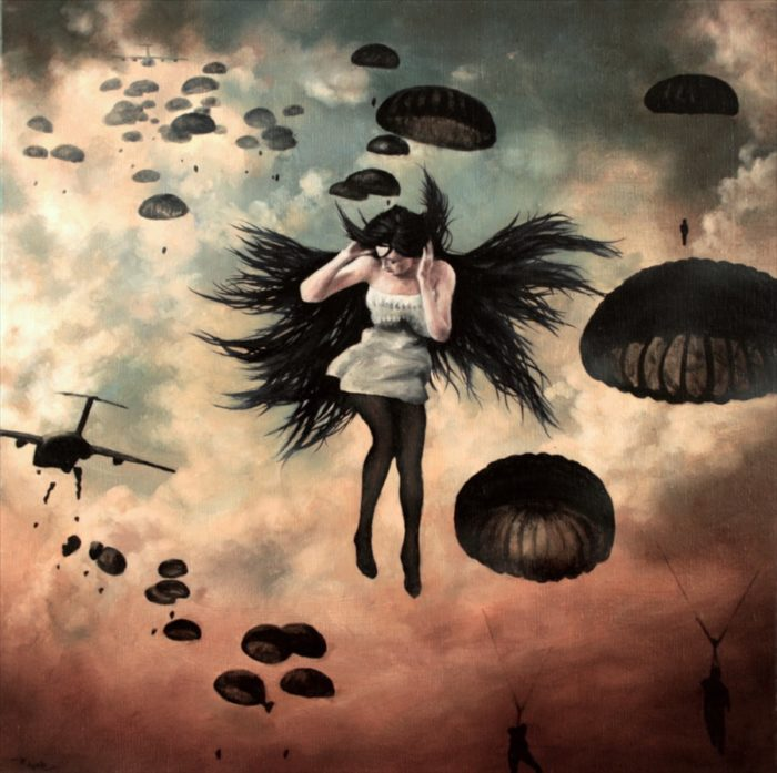 Woman floating in the sky with paratroopers
