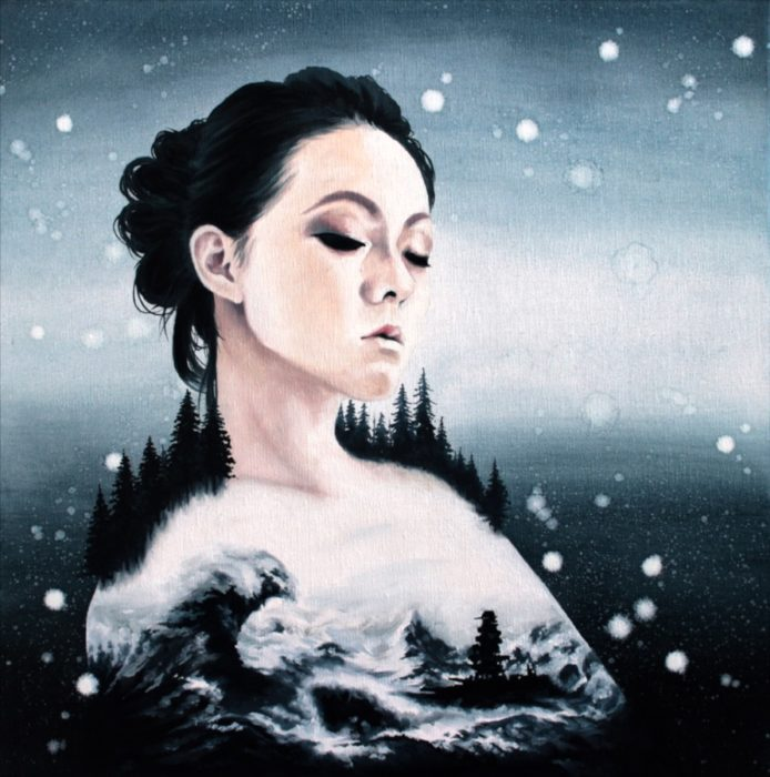 Woman with big waves and war ship and forest and snow