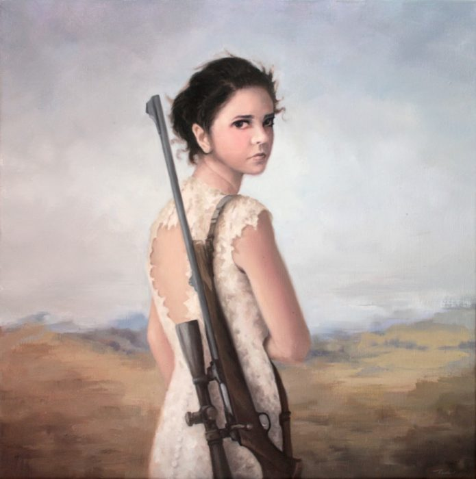 Girl in a white dress carrying a sniper rifle on her shoulder