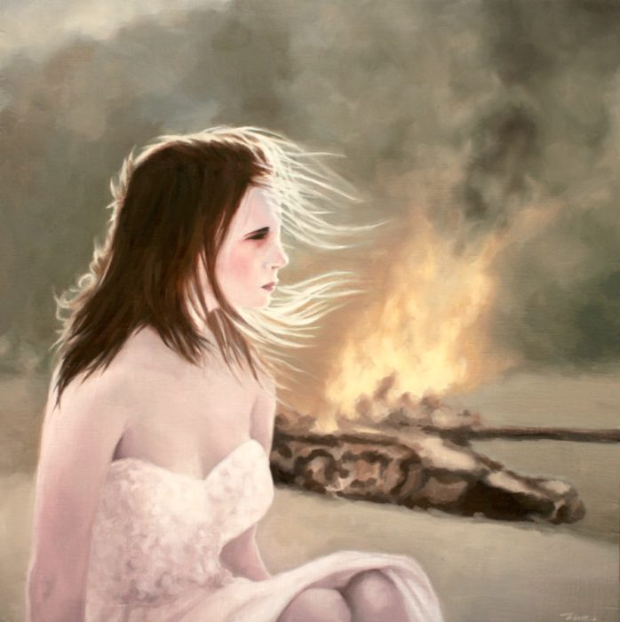 Girl suffering from war with a tank burning in the background