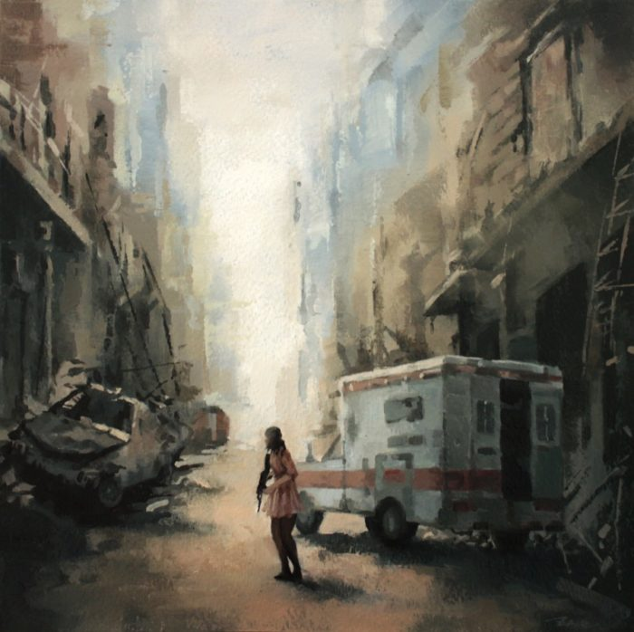 Woman in a ruined war zone road holding a rifle next to an ambulance