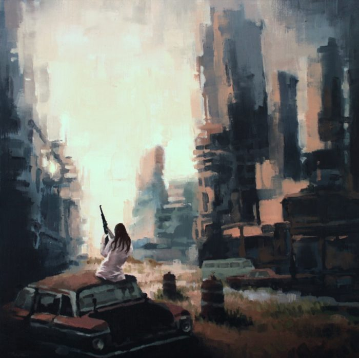 Woman sitting on an abandoned car in a post-apocalyptic street