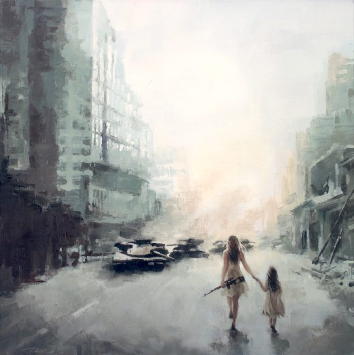 A woman and a girl walking in a abandoned street when tanks approaching