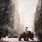 Girl riding a bear crossing a empty street while snowing