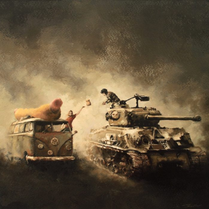 Girl in a Volkswagen Type 2 food truck throwing a bag of hot dogs to a soldier in a M4 Sherman tank