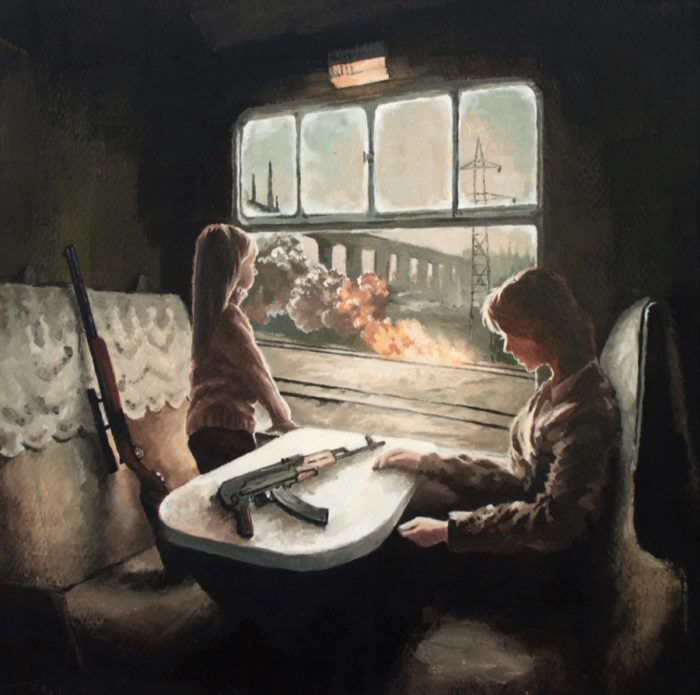 Girl and Mom carrying rifles and looking out of a train window at war