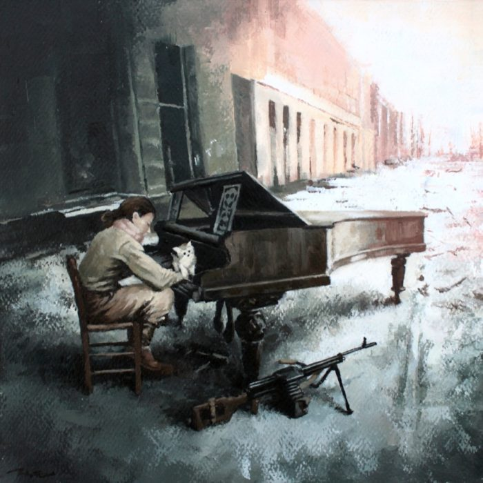 Woman soldier playing piano on a street in show with a cat on the keyboard and a machine gun on the ground