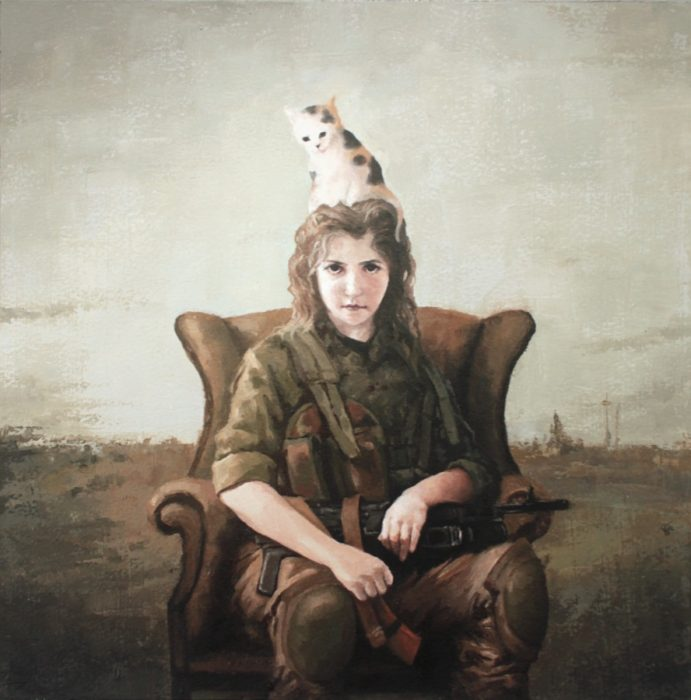 A cat sitting on the head of a guerrilla girl soldier who's holding an AK rifle and sitting in a couch