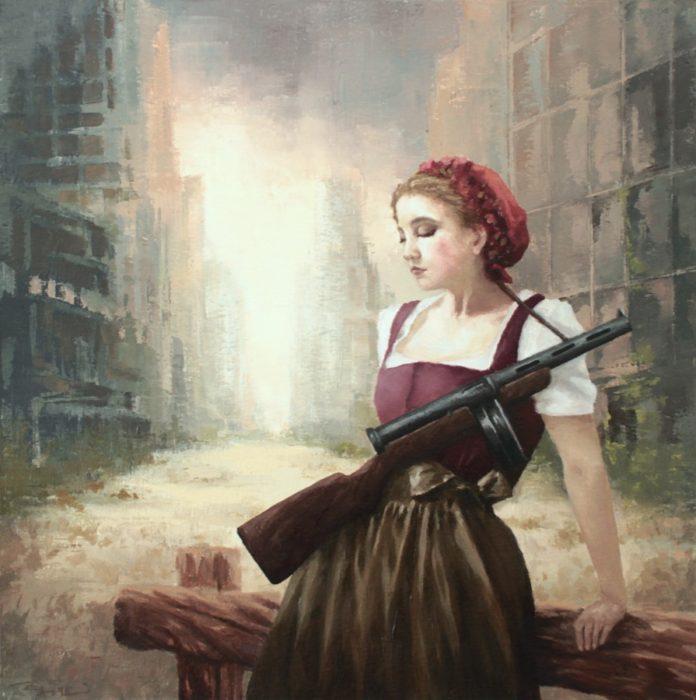 Girl carrying a Russian submachine gun in a post-apocalyptic street