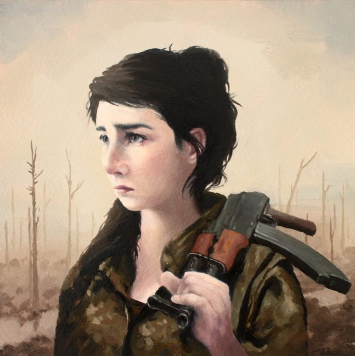 Girl holding an AK rifle on her shoulder on the no man's land